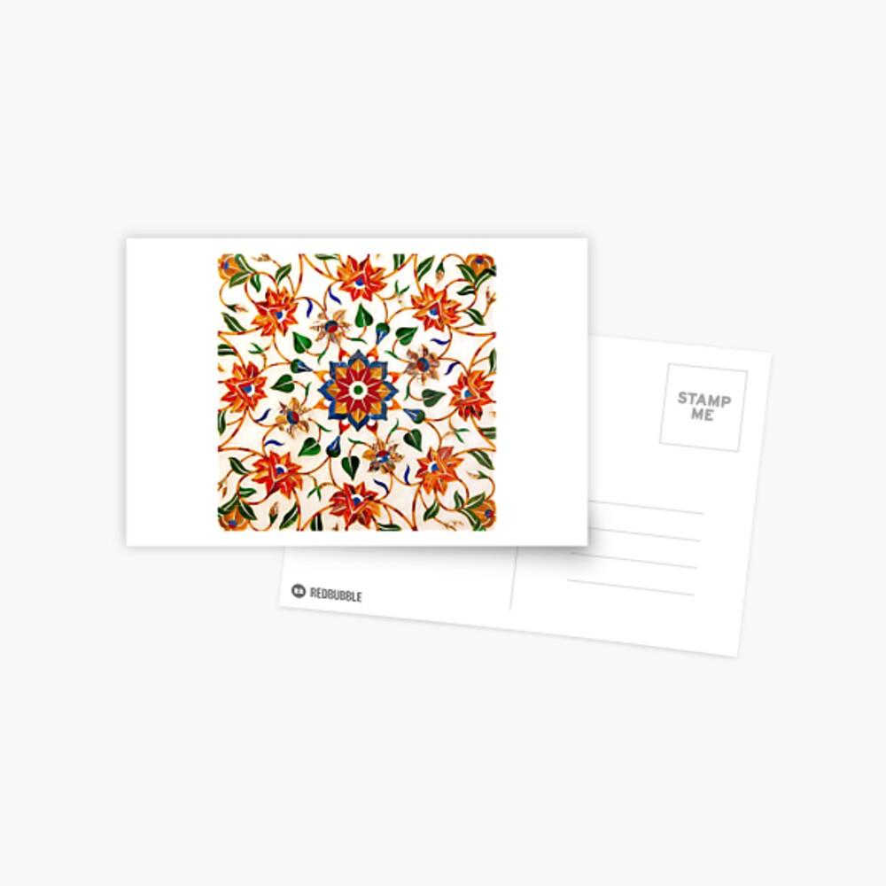 Diseño Floral Taj Mahal Postal