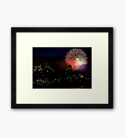 Sydney Harbour Fireworks - New Years Eve  Framed Print