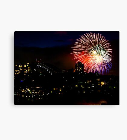 Sydney Harbour Fireworks - New Years Eve  Canvas Print