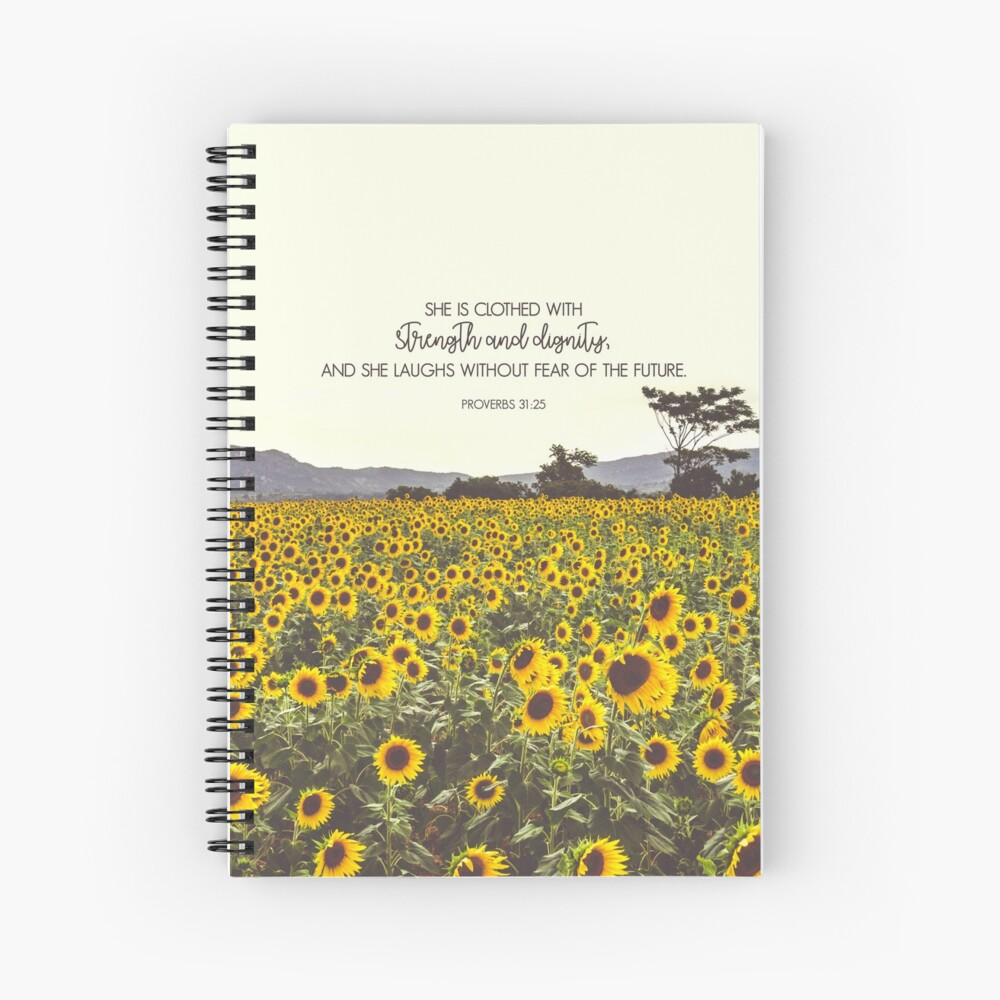 Proverbs and Sunflowers Spiral Notebook