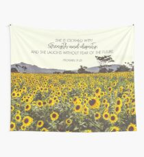 Proverbs and Sunflowers Wall Tapestry