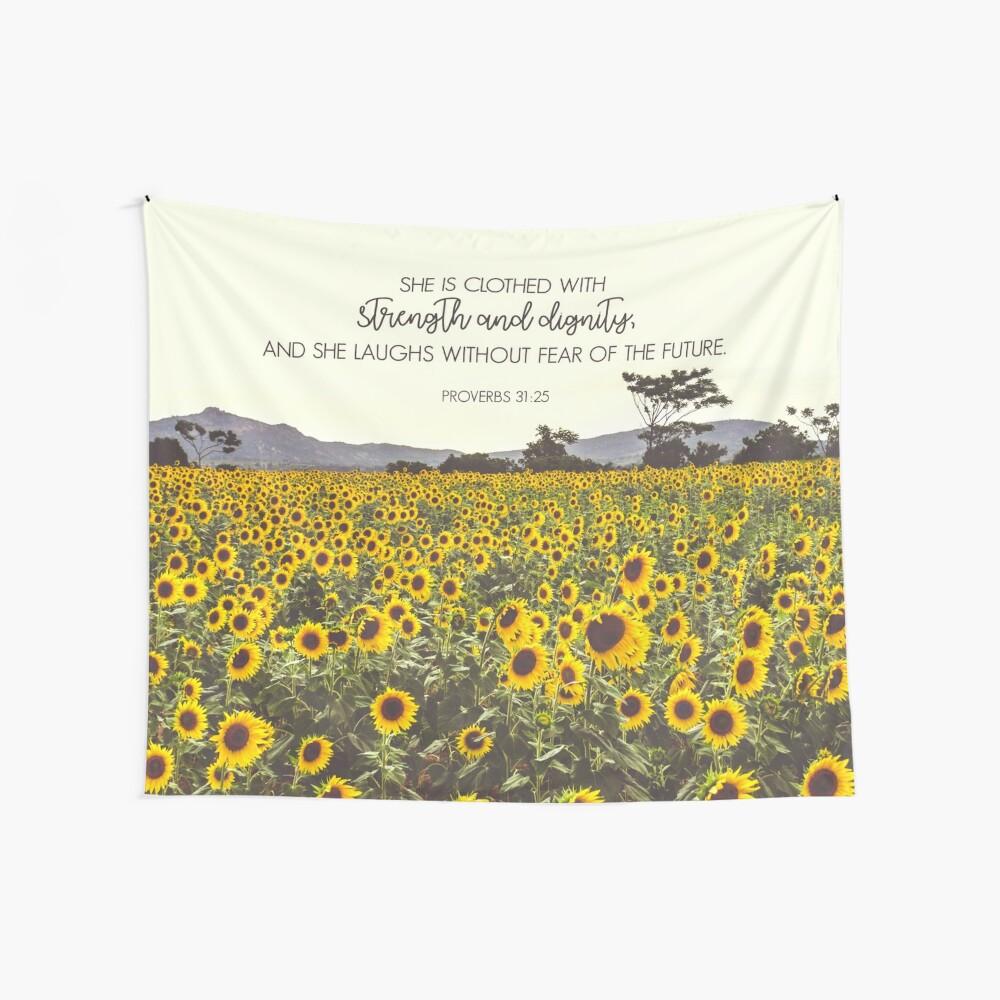 Sprichwörter und Sonnenblumen Wandbehang