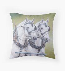 Percheron pair Throw Pillow