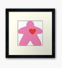 Meeple Love - pink Framed Print