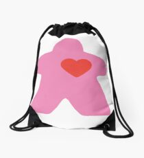 Meeple Love - pink Drawstring Bag