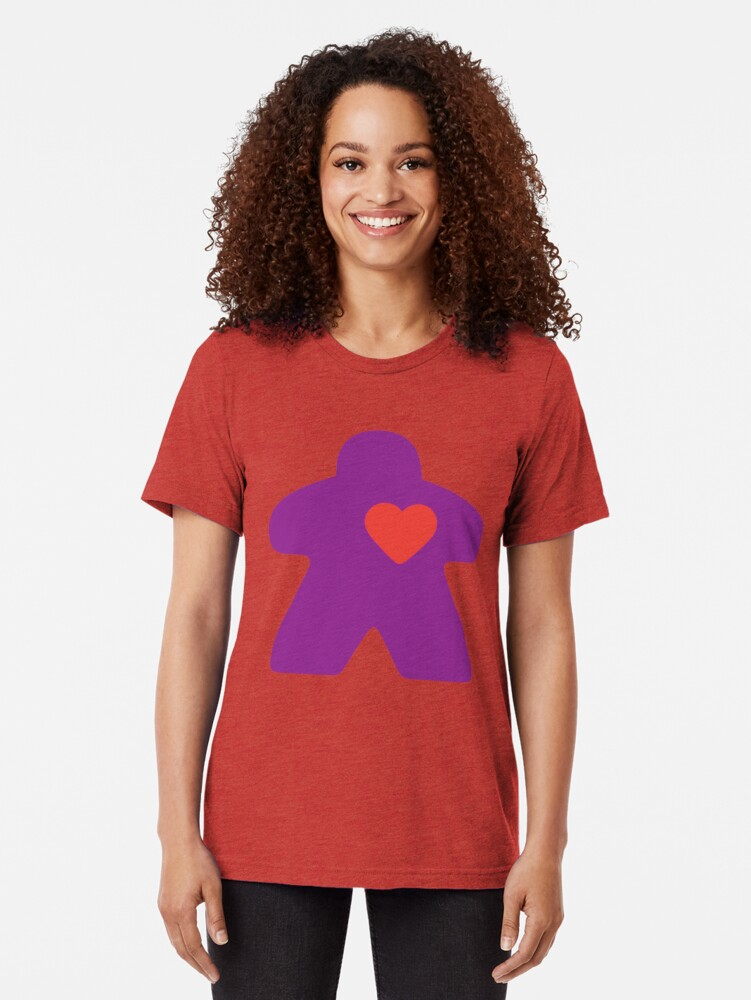 Alternate view of Meeple Love - purple Tri-blend T-Shirt