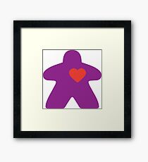 Meeple Love - purple Framed Print