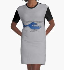 Blue helicopter Graphic T-Shirt Dress