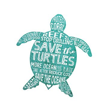 Save the Turtles - Silhouette Words by jitterfly