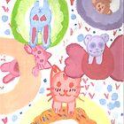 Kawaii Animals on Donuts  by mikistarlight