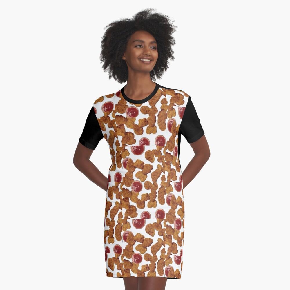 Chicken Nuggets Graphic T-Shirt Dress