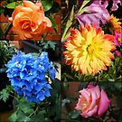 Delphinium, Dahlia and Roses Collage by Kathryn Jones