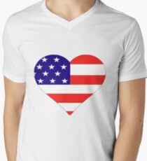 American Flag Heart Mens V-Neck T-Shirt