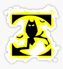 Bat halloween yellow and black silhouette Sticker