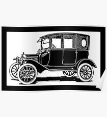 Model T Ford Sedan Pop White Poster