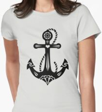 Anchor & Sacred Rose, Symbol Hope, Faith & Love Women's Fitted T-Shirt