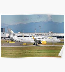 Vueling Airlines Airbus A320-200 (EC-LVX) ready for takeoff at Linate Airport, Milan, Italy Poster