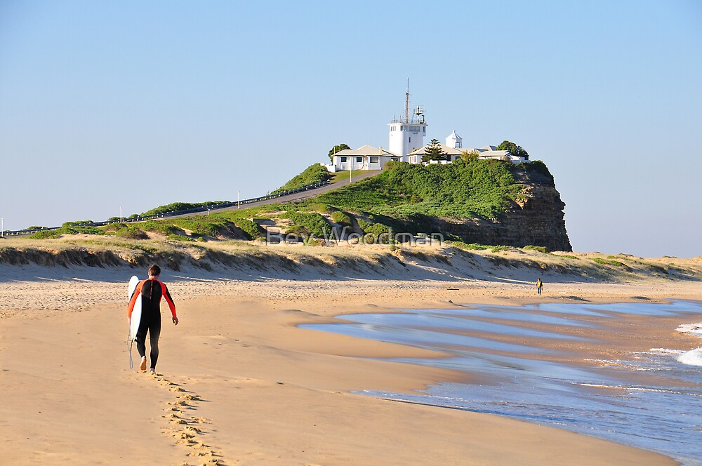LONE SURFER - NOBBY'S BEACH NEWCASTLE NSW by Bev Woodman