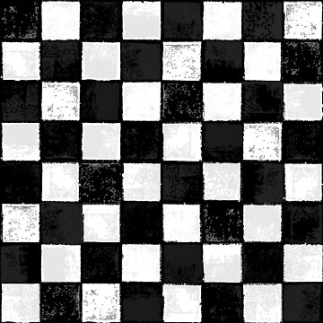 Grungy Ink Stamped and Distressed Black and White Checkerboard Pattern by ZirkusDesign