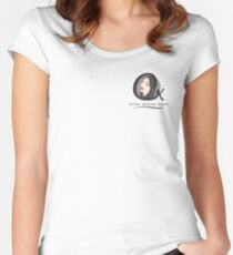 Cristina K Face Graphic Pocket (Black) Women's Fitted Scoop T-Shirt