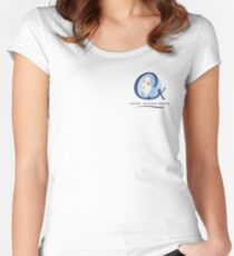 Cristina K Face Graphic Pocket (Blue) Women's Fitted Scoop T-Shirt