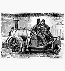 Thomas Rickett 1858 Steam Carriage BW Poster