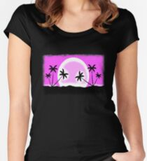 EGA sunset with pixel graphic Women's Fitted Scoop T-Shirt