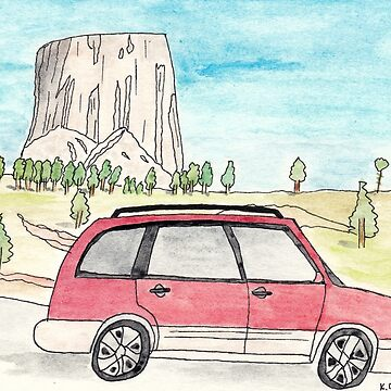 Red Subaru Forester at Devils Tower by chaoticginger