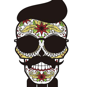 Funny Hipster Skull Shirt Mustache Day Of The Dead Halloween  by LoveAndSerenity