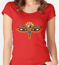 Buddha eyes, symbol wisdom & enlightenment, Women's Fitted Scoop T-Shirt