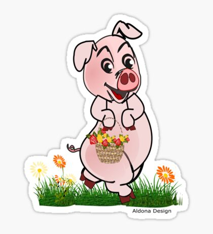 Piggy with basket of flowers Sticker
