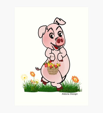 Piggy with basket of flowers Art Print