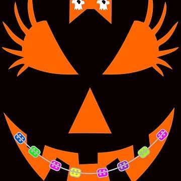 Pumpkin Face Halloween Tshirt by Tetete