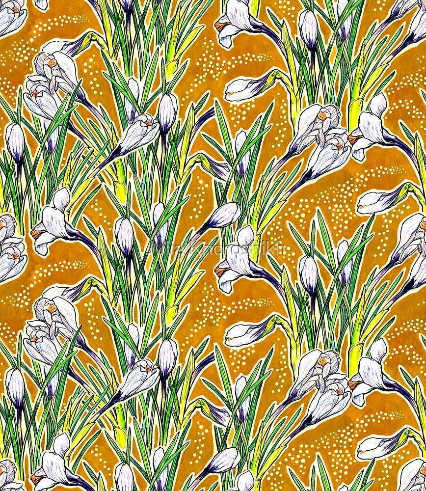 Crocuses, floral pattern in golden yellow and white \