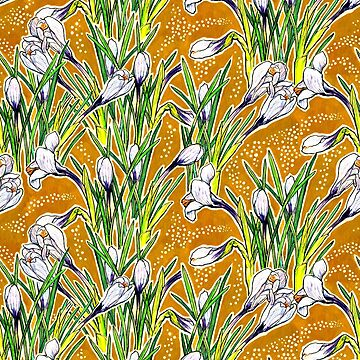 Crocuses, floral pattern, golden yellow and white  by clipsocallipso