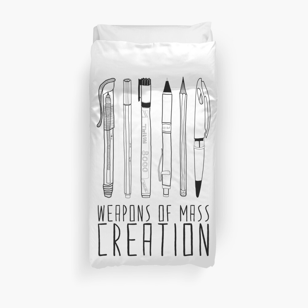 Weapons Of Mass Creation (on grey) Duvet Cover