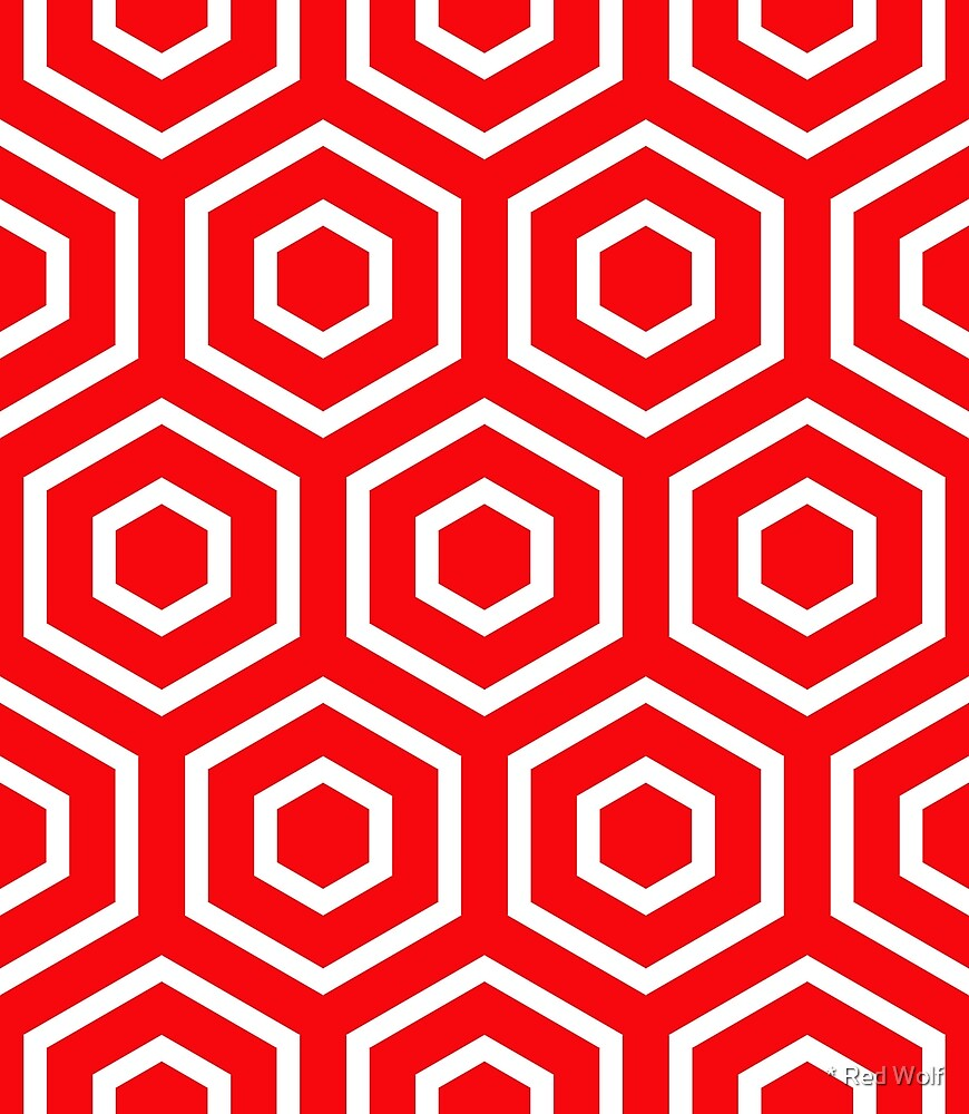 Geometric Pattern: Hexagon Ring: Red by * Red Wolf