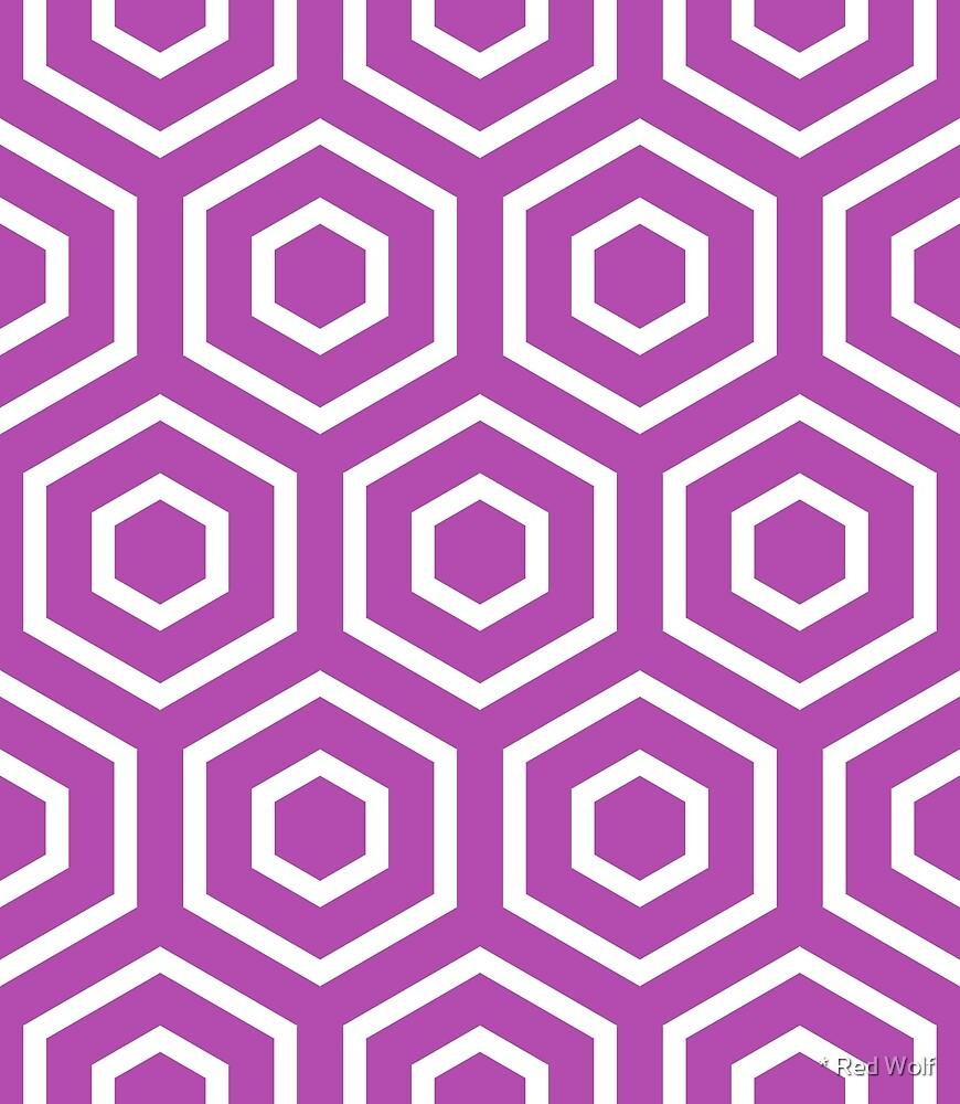 Geometric Pattern: Hexagon Ring: Purple by * Red Wolf