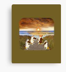 Cat quartet at the beach Canvas Print