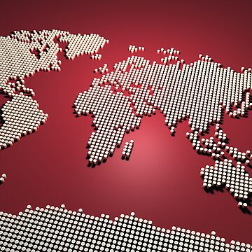 World Map in Red by ArtPrints