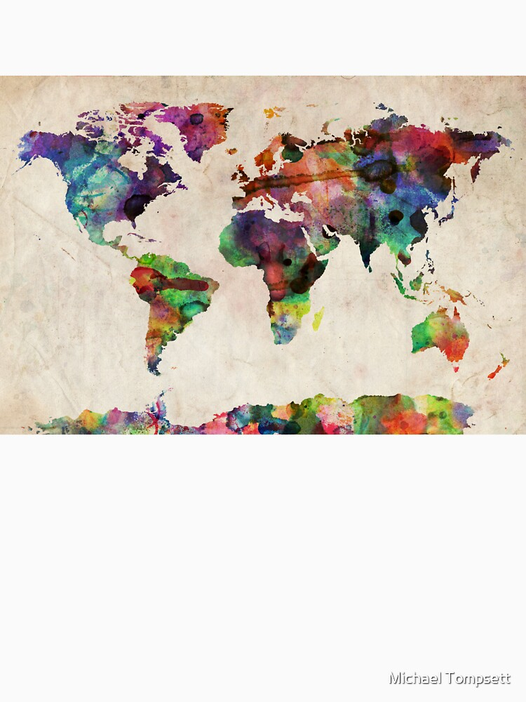 Urban Watercolor World Map.World Map Urban Watercolor Women S Relaxed Fit T Shirt By Artprints
