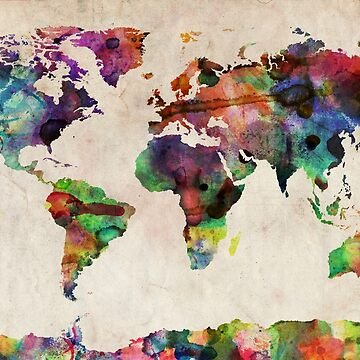 World Map Urban Watercolor by ArtPrints