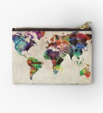 World Map Urban Watercolor Studio Pouch