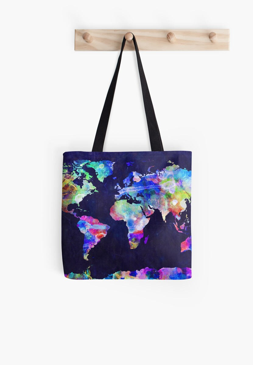 Urban Watercolor World Map.World Map Urban Watercolor Tote Bags By Michael Tompsett Redbubble
