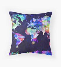 Cojín Mapa mundial Acuarela urbana