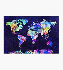 Weltkarte Urban Aquarell Fotodruck