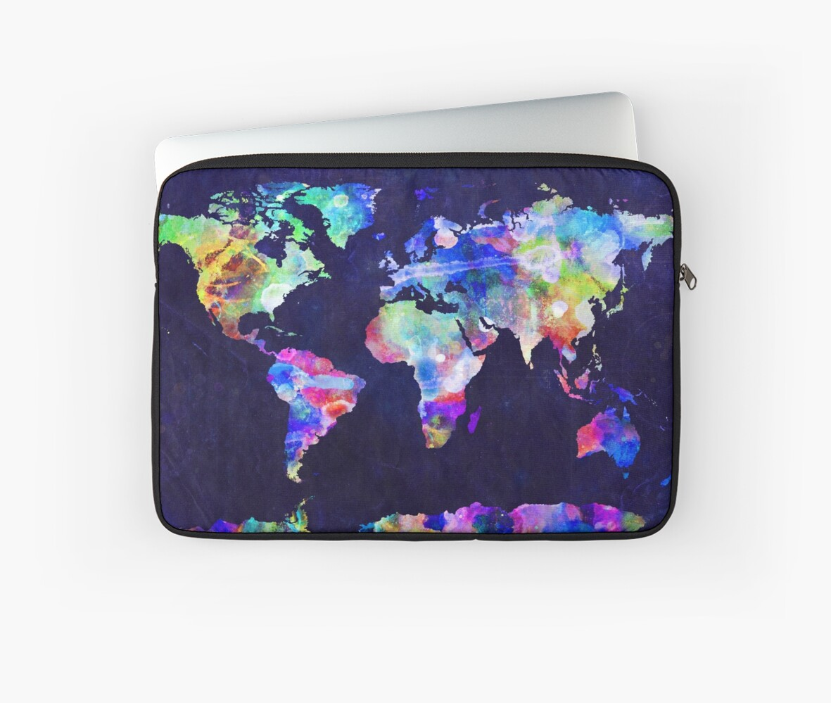 Urban Watercolor World Map.World Map Urban Watercolor Laptop Sleeves By Michael Tompsett