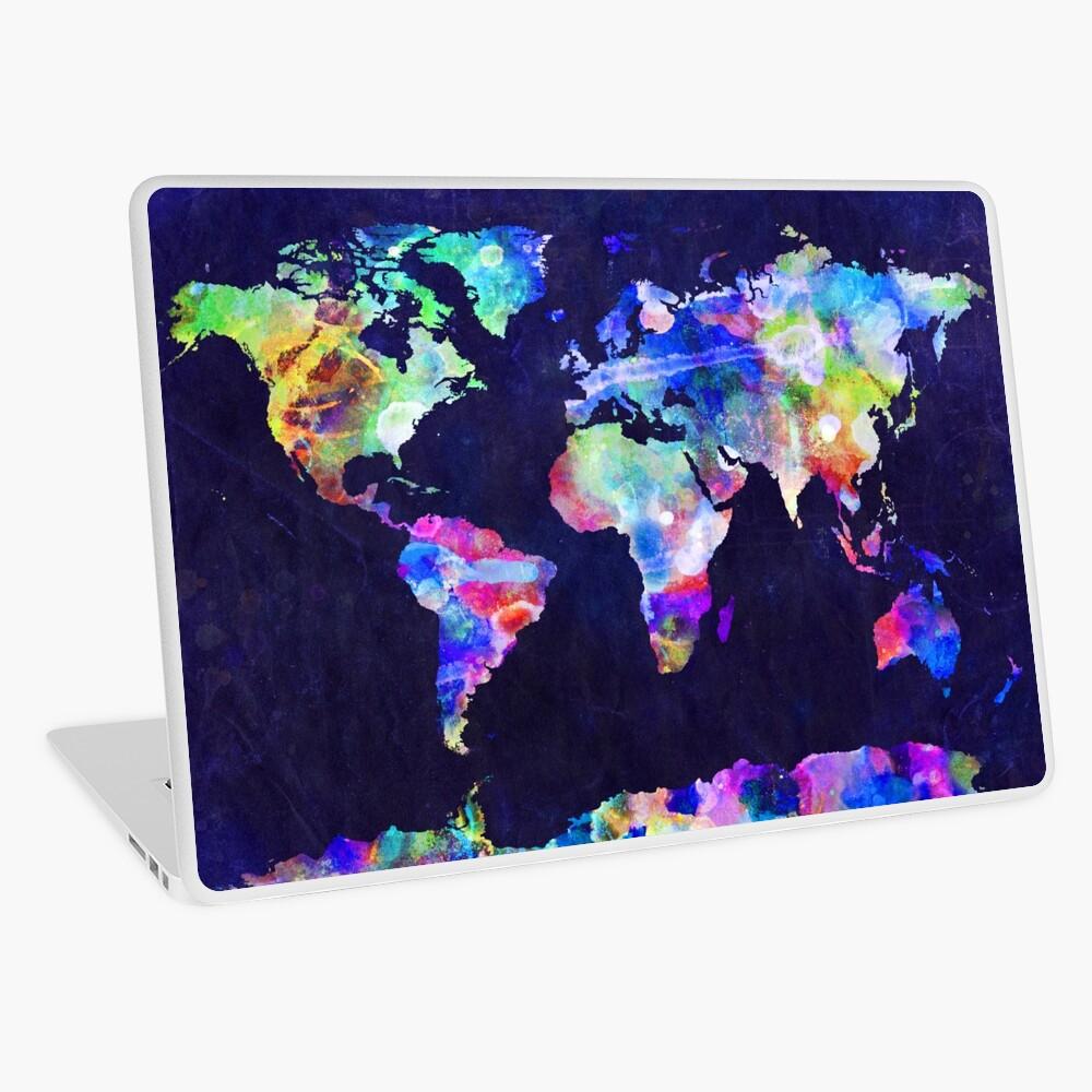 World Map Urban Watercolor Laptop Skin