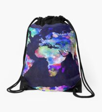 World Map Urban Watercolor Drawstring Bag