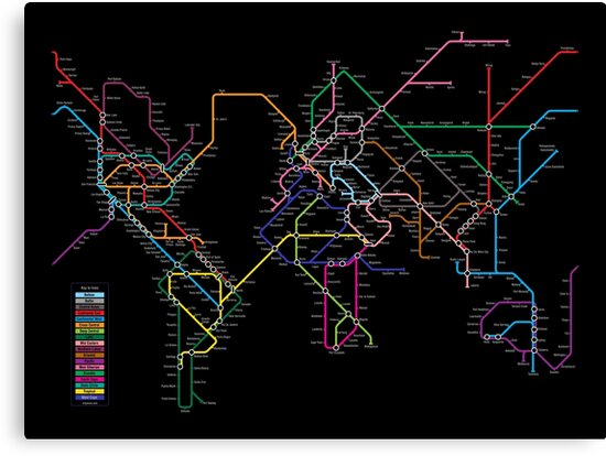 World Metro Map Canvas Prints By Michael Tompsett Redbubble